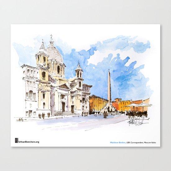 "Matthew Brehm, ""Roma, Piazza Navona"" Canvas Print"