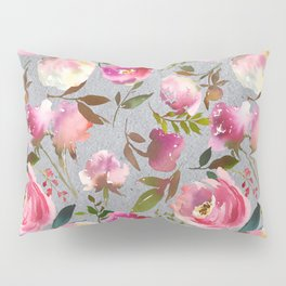 Gray blush pink coral yellow hand painted floral Pillow Sham