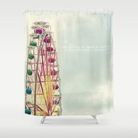 ferris wheel Shower Curtains featuring Ferris wheel by Ana Guisado