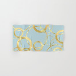Golden Yellow Rings on Muted Blue Background Hand & Bath Towel