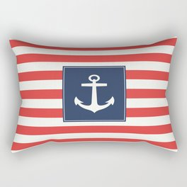 Anchor on red and white stripes Rectangular Pillow