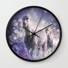 Blue Wild Horses Mixed Media Art Wall Clock