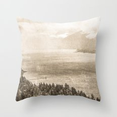 Forest River Water - Vintage Sepia Cape Horn Columbia River Gorge Throw Pillow