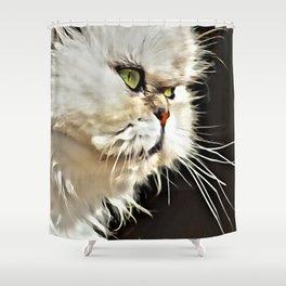 White Persian Cat Shower Curtain