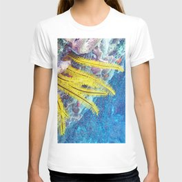 Watercolor Sealife, Golden Crinoid 03, St John, USVI, Blowin' In The Current T-shirt