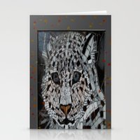 snow leopard Stationery Cards featuring Snow Leopard by ira gora