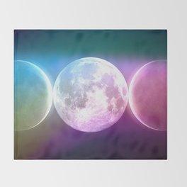 Moon Triple Goddess Rainbow Throw Blanket