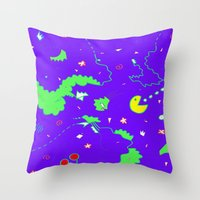 pac man Throw Pillows featuring Pac-Man by Amanda Trader