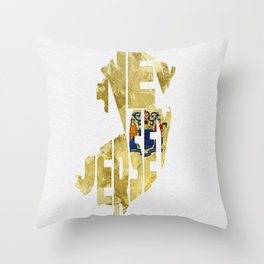 New Jersey Typographic Flag Map Art Throw Pillow