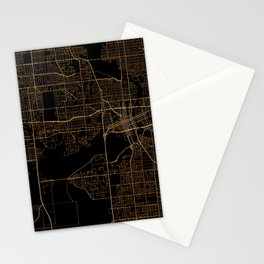 Black nd gold Des Moines map Stationery Cards