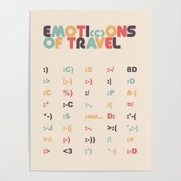 Retro Emoti(c)ons of Travel Typography Poster Poster