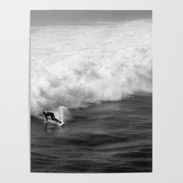 Lone Surfer in Black and White Poster