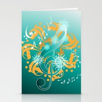 music notes Stationery Cards featuring Music Notes  by HK Chik