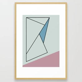 Abstact Black Ink Lines on Blue with Pink Framed Art Print