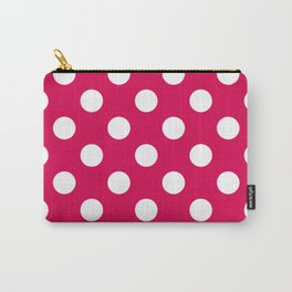 UA red - fuchsia - White Polka Dots - Pois Pattern Carry-All Pouch