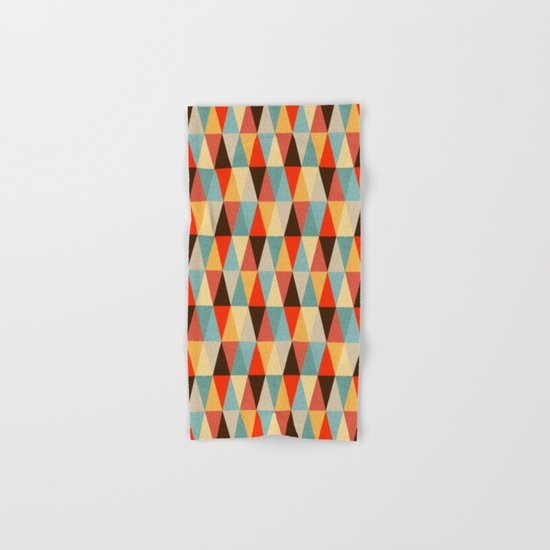 Red & Brown Geometric Triangle Pattern Hand & Bath Towel