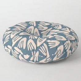 Papier Découpé Modern Abstract Cutout Pattern in Pale Blush and Deep Teal  Floor Pillow