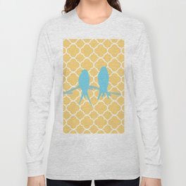 Modern trendy orange blue birds quatrefoil pattern Long Sleeve T-shirt
