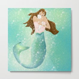 Mermaid and White Kitten With Sparkles Metal Print