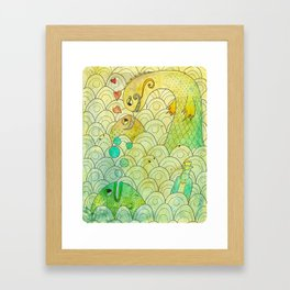 Conversations in the sea Framed Art Print