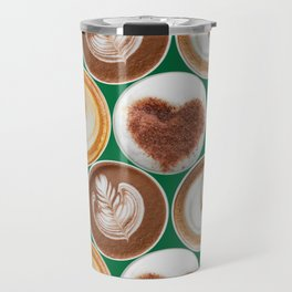 Latte Polka Dots in Winter Green Travel Mug