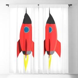 Red Rocket Blast Off Blackout Curtain