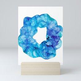 Blue Splatter Scrunchie: Original Alcohol Ink Painting Mini Art Print
