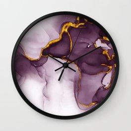 elegant gold violet texture Wall Clock