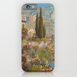 Lakeside View of Riva and Flower Gardens on Lake Garda, Italy landscape painting iPhone Case