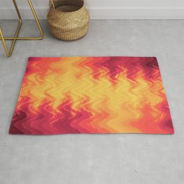 The volcano, abstract eruption and fire flames in hot colors Rug