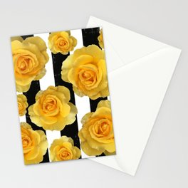 Yellow Roses on Black & White Stripes Stationery Cards