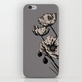 Beige Poppies iPhone Skin