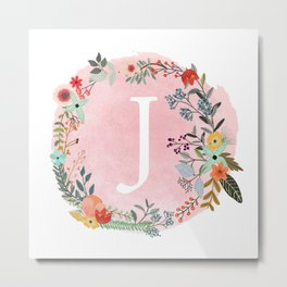 Flower Wreath with Personalized Monogram Initial Letter J on Pink Watercolor Paper Texture Artwork Metal Print