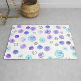 Whimsical Happy Suns Watercolor Pattern Purple Rug