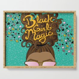 Black Girl Magic Teal Serving Tray