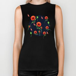 Red Poppies Field Biker Tank