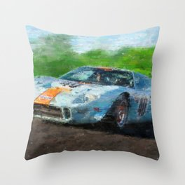 Ford GT 40, Gulf Throw Pillow