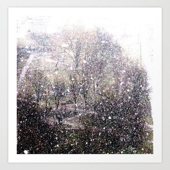 Snow in early fall(1)  Art Print