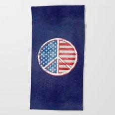 Watercolor Peace Symbol Stars and Stripes USA Flag Beach Towel