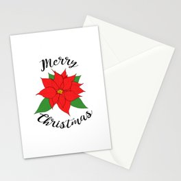 Merry Christmas Poinsettia Stationery Cards