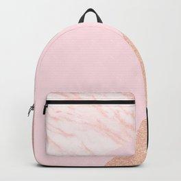 rose gold geometric marble Backpack