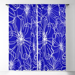 Floral, Line Art, Blue and White, Minimalist Art Blackout Curtain