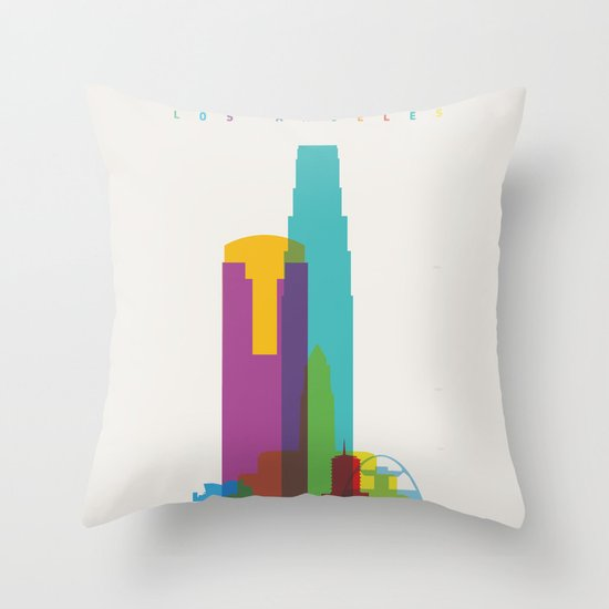 Shapes of Los Angeles accurate to scale Throw Pillow