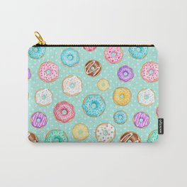 Scattered Rainbow Donuts on spotty mint - repeat pattern Carry-All Pouch