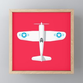 F4U Corsair Fighter Aircraft - Crimson Framed Mini Art Print