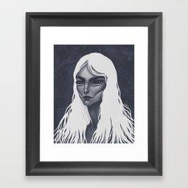 White Haired Framed Art Print