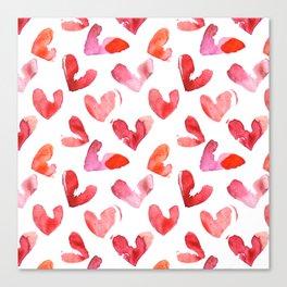 Cute pink hearts watercolor Canvas Print