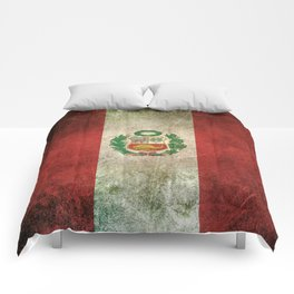 Old and Worn Distressed Vintage Flag of Peru Comforters