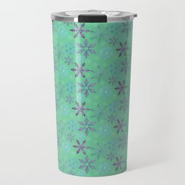 Purple Glitter Snowflakes | Dark Green | Christmas Holiday Travel Mug