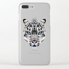 Low poly snow leopard Clear iPhone Case
